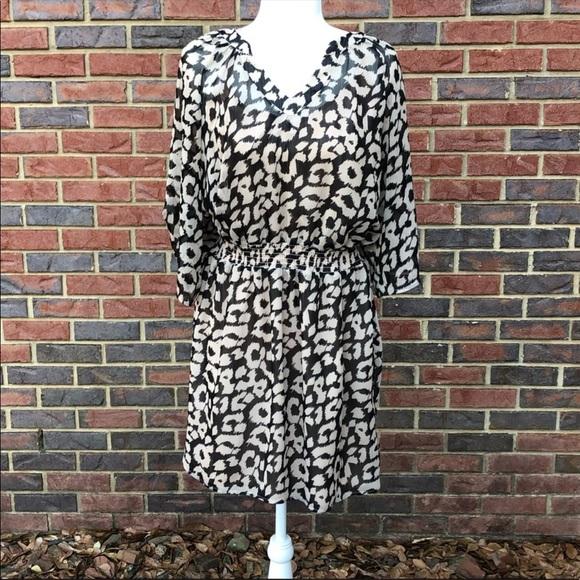 Express Dresses & Skirts - Express Black Cream Animal Print Dress  L